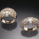 Diamond pavé and baguette diamond 9mm and 13mm dome rings.