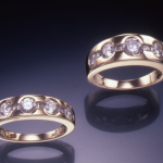 Diamond and gold rings with round and princess cut diamonds