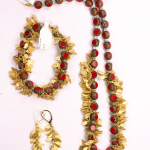 Red Chech glass beads and 18KT yellow gold vermeil on sterling silver necklace, bracelet and earrings
