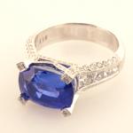 Sapphire 5.71ct., diamond .51ct in Platinum