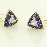 Trillian shape diamond 1.08ctand sapphire 1.40ct earrings