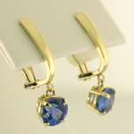 Tanzanite Drop earrings in 14KT yellow gold 3.67cts. TW
