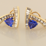 Tanzanite 3.61ct.TW, gold and diamond 2.47ct.TW modern earrings.