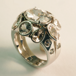 White Sapphire and Diamond Cluster Ring