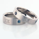 Wedding 20th Anniversary Bands with Blue Treated Diamonds