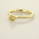 Natural Fancy Vivid Yellow .33ct. DIamond set in 22KT Yellow Gold Solitaire.
