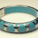 Sterling Silver and Turquoise Acrylic bamboo motif Braclet