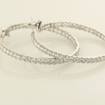 Diamond pavé inside outside hoop earrings