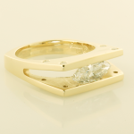 14KT yellow gold ring with a 1.08ct. marquise diamond