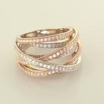 Multi row diamond pavé ribbon ring