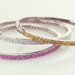 Bangle Bracelets Pavé in Diamond, Yellow or Pink Sapphires