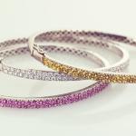 Bangle Bracelets Pavé in Diamond, Yellow or Pink Sapphires