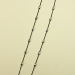 18KT White Gold Vermeil on Sterling Silver Bead and Black Rhodium vermeil Chain Necklace