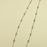 18KT White Gold Vermeil on Sterling Silver Bead and Chain Necklace