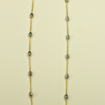 18KT White Gold Vermeil on Sterling Silver Bead and 18 KT yellow vermeil Chain Necklace