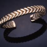 14KT yellow gold flexible chevron cuff bracelet , titanium inner spring
