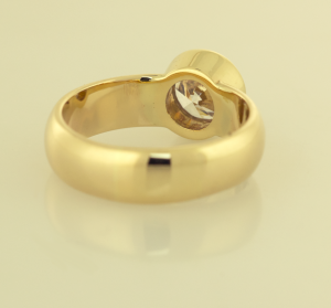 Solitaire ring bezel set in 14KT yellow back view