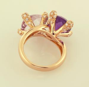 Dual amethyst ring back view