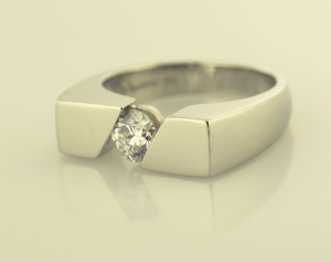 Diamond Gent's Ring in 14KT White Gold