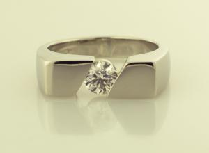 Diamond Gent's Ring in 14KT White Gold