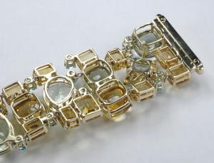 Gemstone multi link bracelet. Back view close up