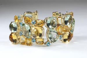 Multi color emstone linked bracelet