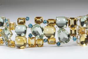 Gemstone multi link bracelet. close up