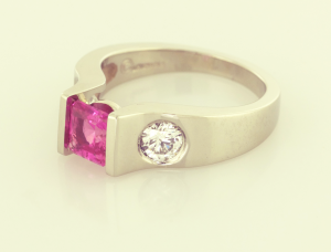 Pink Sapphire and 18KT white gold ring, a copyrighted original from Thomas Michaels Designers