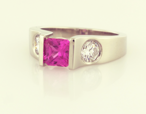 Pink Sapphire and 18KT white gold ring, a copyrighted original from Thomas Michaels Designers, Inc.