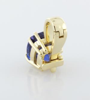 6.80ct. Tanzanite set 18KT yellow gold pendant back view