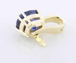 6.80ct. Tanzanite set 18KT yellow gold pendant enhancer