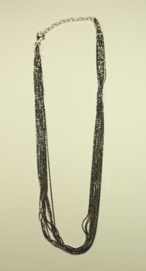 18KT White Gold & Black Rhodium Vermeil on Sterling 10 Strand Chain Necklace