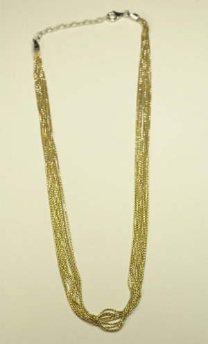 18KT White & Yellow Gold Vermeil on Sterling 10 Strand Chain Necklace