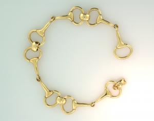 Equestrian 14KT gold eggbutt bit bracelet View 2