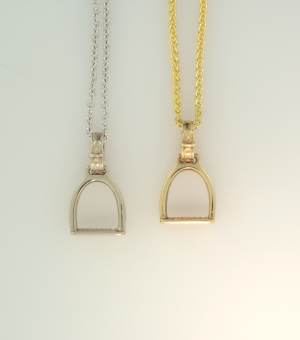 14KT white and yellow medium size equestrioan stirrup pendants on 14KT chains