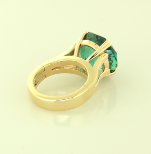 Green tourmaline (16.00ct.) hand fabricated 18KT gold ring back view