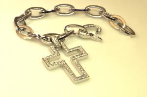 18KT white gold and diamond pavé cross on gold link bracelet