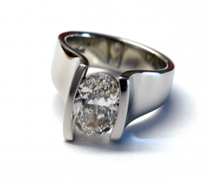 18KT white gold and oval diamond (2.00ct.) contemporary ring