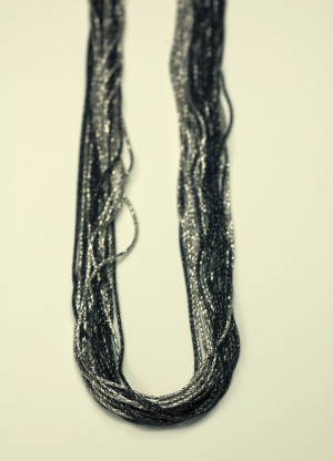 18KT White Gold & Black Rhodium Vermeil on Sterling 20 Strand Chain Necklace