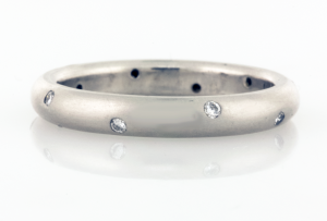 Wedding Band 3mm Wide with Scatter of Diamonds