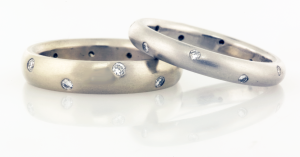 Wedding Bands  4mm wide and 3mm Wide with a scatter of diamonds