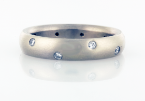 Wedding Band 4mm Wide with Scatter of Diamonds