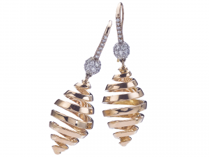 18KT rose gold and diamond drop earrings, Les Boules Swirl