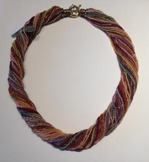Multi color multi strand glass bead necklace