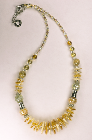 Italian Glass Bead Necklace in Amber