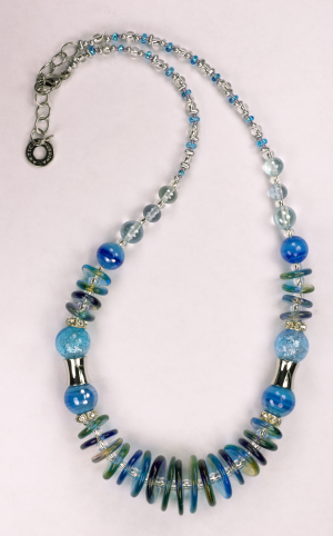 Italian Glass Bead Necklace in Blue