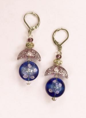 Italian Glass Earrings in violets