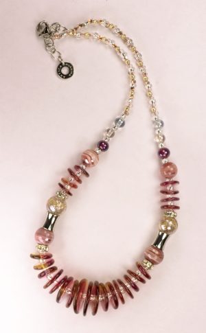 Italian Glass Bead Necklace in Red