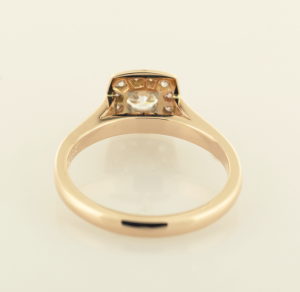 Rose gold surround diamond solitaire back view