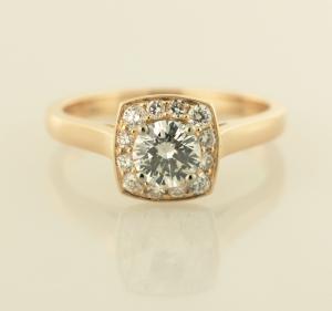 Rose gold surround diamond solitaire